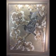 Toshio Aoki (1853 - 1912) Listed Artist Japanese Painting Birds Dove San Francisco Artist