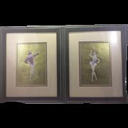 Erte Pair Original 1979 Gouache Paintings Paris Ballet de Roland Petit Dancers Gold Background