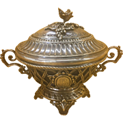 French 950 Sterling Silver Harleux Pierced Sugar Bowl Casket W Lid Napoleon III Style France