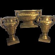 French 3 Piece Continental Dore Bronze Jardiniere Vase Urn Centerpiece Louis XVI Style Buenos
