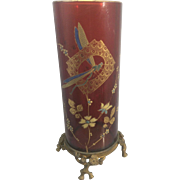 Antique 19th Century French Signed Baccarat Cranberry Red Enamled Vase W Gilt Bronze Ormolu Mo