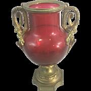 Antique French Baccarat Cranberry Red Art Glass W Gilt Bronze Ormolu France Louis XVI