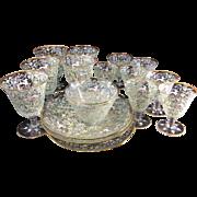 Circa 1900 17pc Salviati & Moser Art Glass Glassware Enamel Canine Foliate Pattern Glassware S