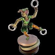 SOLD Artist Martin Eichinger Bronze Enamel Sculpture Harlequin Jester Memphis Style
