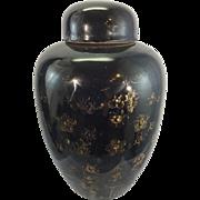 Antique Chinese Porcelain Mirror Black Ginger Jar Urn Kangxi Mark