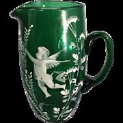 Antique Mary Gregory Art Glass Ribbed Pitcher Enamel Green Glass Cherub