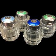 4 Vintage Meka Denmark Sterling Silver Enamel Guilloche & Glass Salt Pepper Shakers Danish Mod
