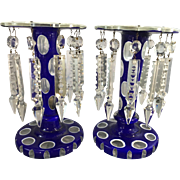 Antique Bohemian Cobalt Glass Mantle Lusters Candle Holders Blue To Clear W Prisms Lustres