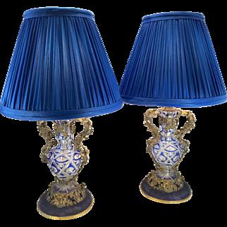 Antique Pair Czech Bohemian Cut Glass Boudoir Lamps French Style W Mounted Ormolu