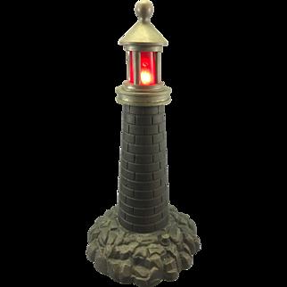 Old Bronze Lighthouse Lamp W Blinking Beacon Light Maritime