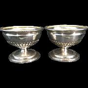 Pr 1796 London English Georgian Sterling Solid Silver Salt Bowls