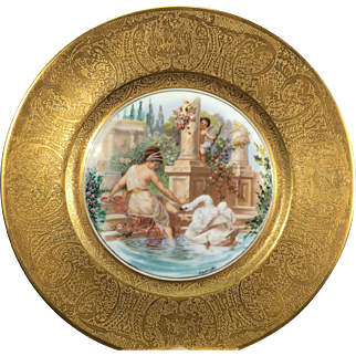 Vintage Bohemia Ceramic Works Neurohlau Gilded Porcelain Plate Neoclassical Scene Maiden Cherub