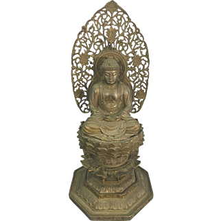 Antique Japanese Asian Bronze Buddha Sculpture On Lotus Throne