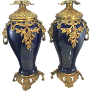 Pr Antique French Sevres Style Cobalt Blue Porcelain Ormolu Bronze Urns Vases Lion Head Handle