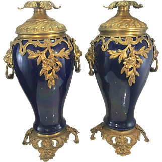Pr Antique French Sevres Style Cobalt Blue Porcelain Ormolu Bronze Urns Vases Lion Head Handles