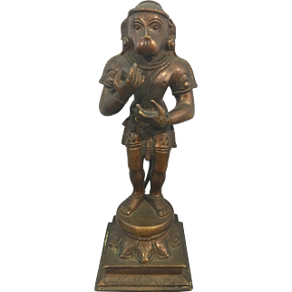 Old Hindu Bronze Hanuman Monkey God Sculpture Jay Ward Estate