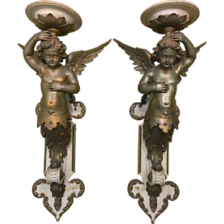 Antique Pair Italian Polychrome Carved Wood Cherub Putti Wall Plaques Sconces