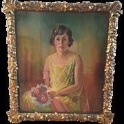 Original 1926 Nina Waldeck Painting On Canvas Young Lady W Antique Gilt Wood Frame Laurel Oak