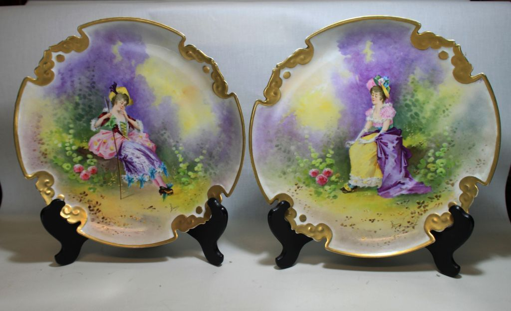 """14.2"""" Pair of hand-Painted Limoges tray, artist signed"""" Baumy"""" ca 1891-1900"""