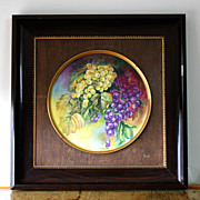 "Limoges porcelain hand painted framed charger with grapes, artist signed ""SARLANGEAS"", after 1891"