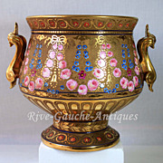 Unique 10.5'' Limoges France Gold encrusted signed jardiniere/ cache-pot with hand painted roses, with Phoenix-head handles, 1942-1952