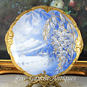 "14.25"" Limoges Large Gold Encrusted Scenic & Floral Charger in Serene Shades of Blue and White"