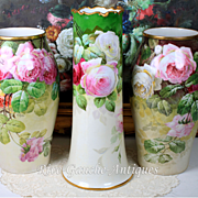 15'' Limoges France hand-painted roses vase, 1900-1932