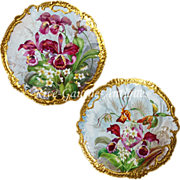 REDUCED Pair 17.5'' Antique hand-painted Limoges France trays/ wall plaques, ornate gold .