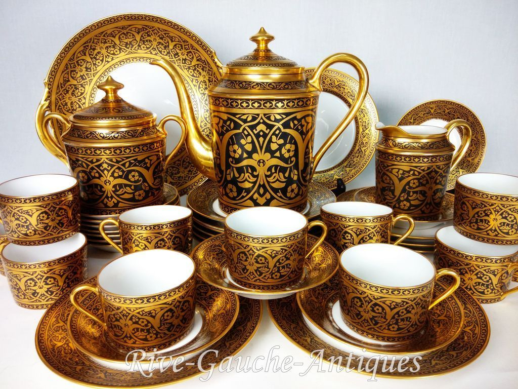 39 Pieces Limoges France Tea Coffee Set Heavy Gold