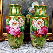 "Rare 14.75"" tall Pair of Limoges France hand-painted roses vases, signed ""Gandois. M"", 1930s"
