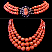 REDUCED 104 grams Antique 19th century natural faceted red coral necklace of 3 strands with a