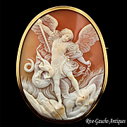 """Extra Large Outstanding Museum Quality Antique Cameo, """"St. Michael  the Archangel Slaying"""