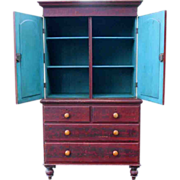 19th Century Red Grain Painted Pine Stepback Cupboard Linen Press Cabinet
