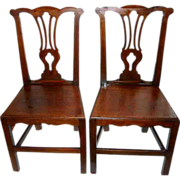 18th Century English Equestrian Chippendale Hearth Hall Chairs