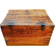 Rare 19th Century 1880's Country General Store Advertising Seattle COFFEE Crate Wood Shipping