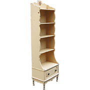 19th Century Rare French Country Edwardian Mahogany Etagere Chimney Cubby Pantry Open Cupboard
