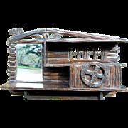 Folk Art Rustic Lodge Vintage 1930s Black Forest Chip Carved Wood Shaving Mirror Towel Bar ...