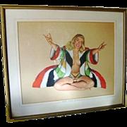 Mid Century Hollywood Regency Vintage 1947 Pop Art RARE Signed Al Moore Original Esquire Girl