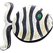 Signed Mexican Sterling Silver Mixed Metal Inlaid Fish Pin ~ Pendant