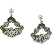1930's/40's Mexican Sterling Silver & Turquoise Earrings