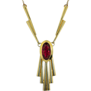 Art Deco 900 Silver Gilt Necklace With Ruby Glass