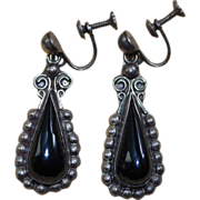 Signed Mexican Sterling Silver with Black Onyx Earrings ~1940's