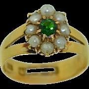 Victorian 18K Chrome Tourmaline & Pearl Halo Ring 1912