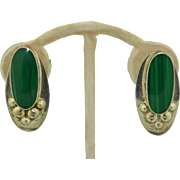 Vintage Signed Mexican Sterling Silver & Malachite Earrings