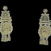 Sterling Silver Long Dangle Earrings Signed