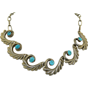 Native American Sterling Silver & Turquoise Necklace 1940's