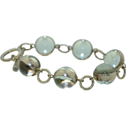 Kenneth D King Sterling Silver Glass Marble Bracelet