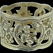 German Art Nouveau ~ Victorian 835 Silver Napkin Ring Putti Rose