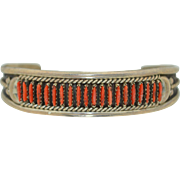 Zuni Native American Needle Point Coral & Sterling Silver Bracelet