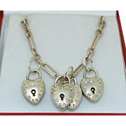 Sterling Silver Victorian Lock Heart Charm Necklace